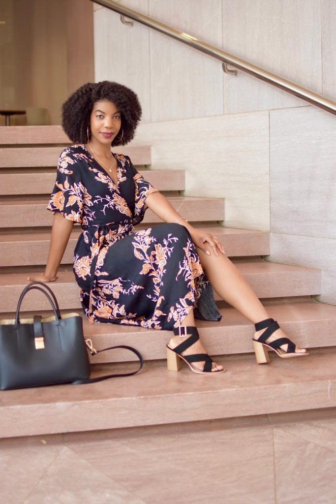 SheIn Surplice Front Florals Wrap Dress, Black and Orange Wrap Dress, Asos Black and Tan Block Heel Sandals, Black Purse with Strap