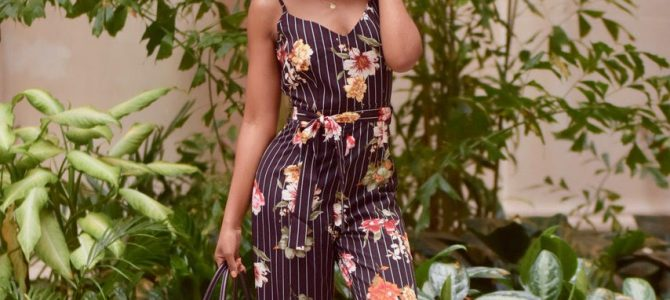 Summer Style: SheIn Floral Print Striped Self Tie Waist Jumpsuit