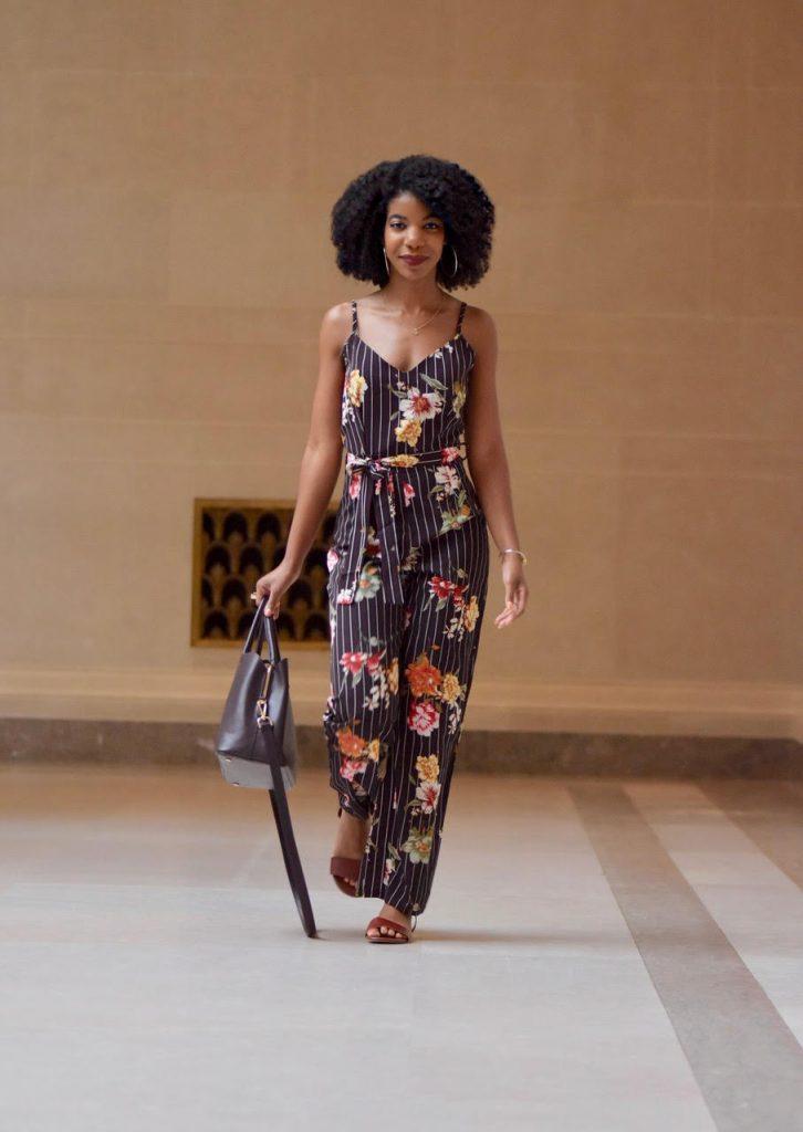 SheIn Floral Print Striped Self Tie Waist Jumpsuit, Black and Multi Colored Floral Print Jumpsuit