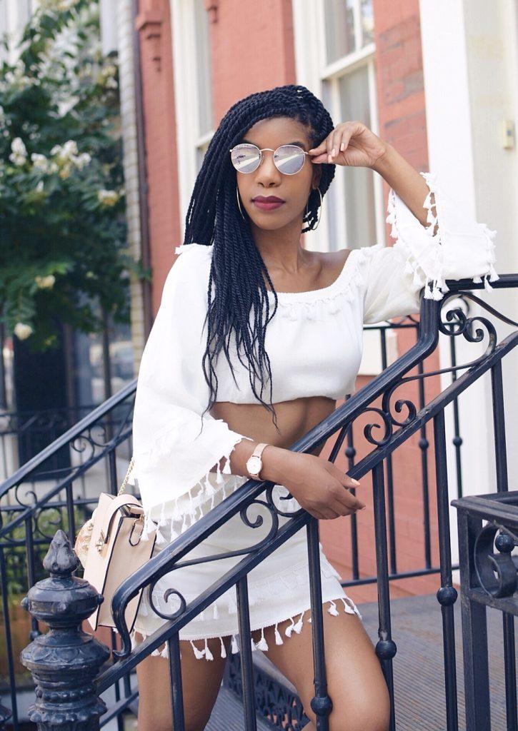 SHEIN Cream Bell Sleeve Layered Tassel Trim Crop Bardot Top & Skirt Set, Cream Two Piece Co-Ord Set