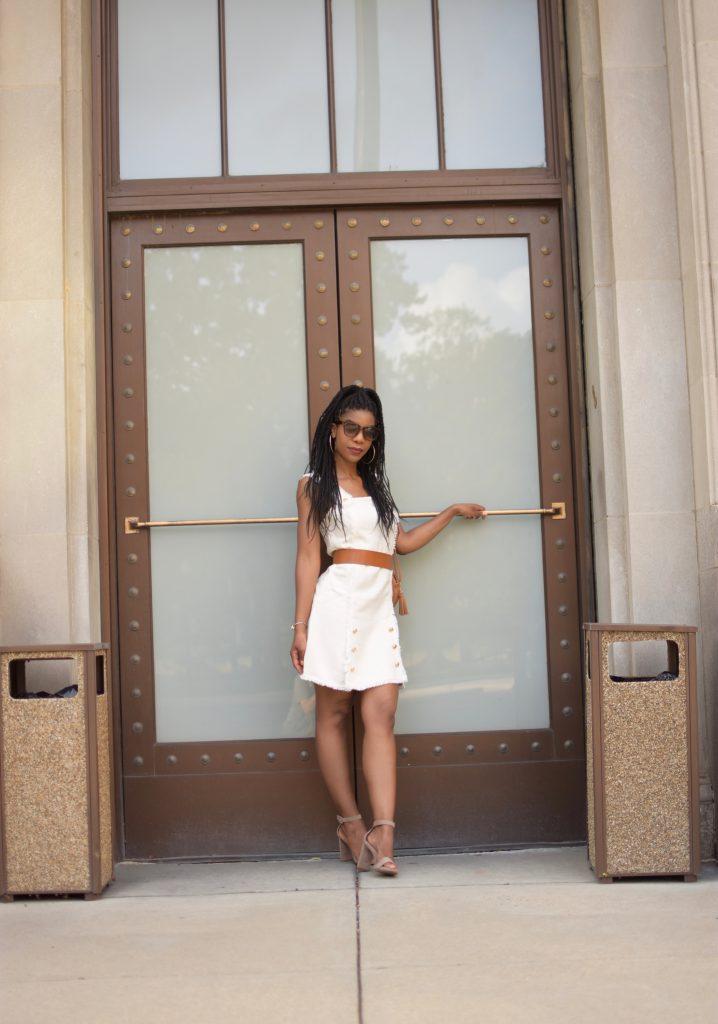 SheIn Button Detail Raw Edge Tweed Dress, Cream Tweed Dress with Gold Button Detail, Tan waistbelt