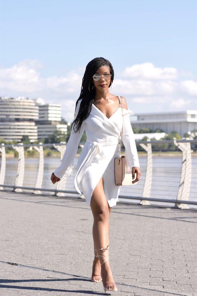 SHEIN Tie Waist Wrap Knot Solid Dress, Windsor Store Clear Nude Lace Up Heels, H&M Mirror Aviator Sunglasses, Zara Nude Purse