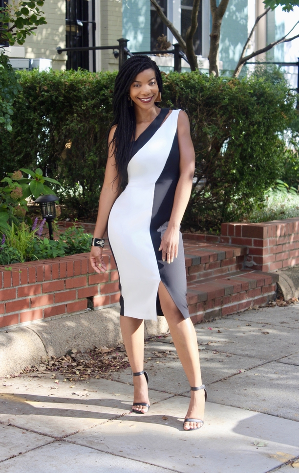 Maggy London Alisa Black and White Midi Dress, Semi-Formal Outfit Idea, Wedding Guest Outfit Idea, Cocktail Party Outfit Idea