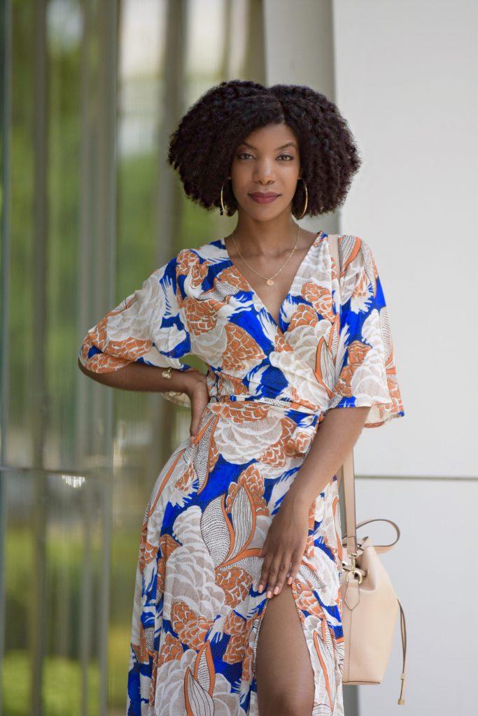 Boohoo BRIGHT FLORAL WRAP FRONT MAXI DRESS