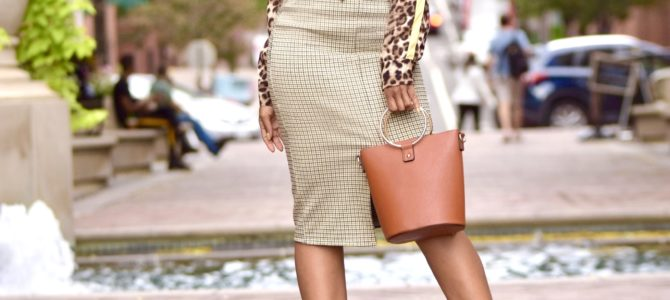 Fall Style: SheIn Leopard Print Shirt + Houndstooth Skirt