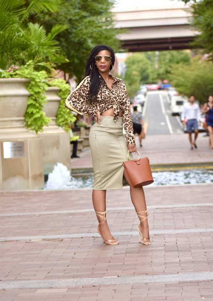 SHEIN Single Pocket Leopard Print Shirt, H&M Houndstooth Pencil Skirt, Forever 21 O Ring Purse, Windsor Store Clear Nude Lace Up Heels
