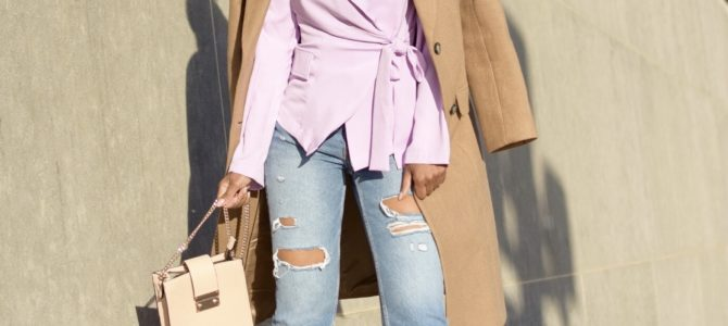 Fall/Winter Style: SheIn Purple Tailored Blazer + Camel Coat + Ripped Denim