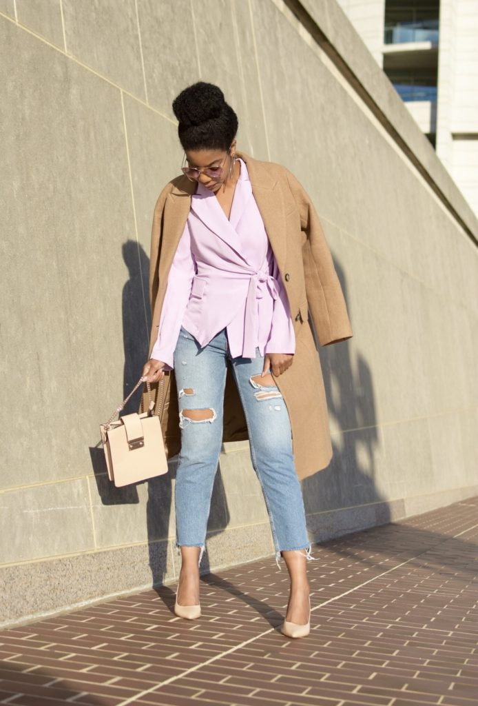 Purple SHEIN Notch Collar Knot Front Tailored Blazer, H&M Camel Longline Coat, H&M Ripped High Rise Ankle Denim, Steve Madden Nude Pumps