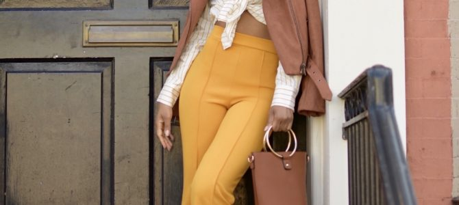 Fall/Winter Style: SheIn Yellow Pants + Yellow Striped Top + Mauve Jacket