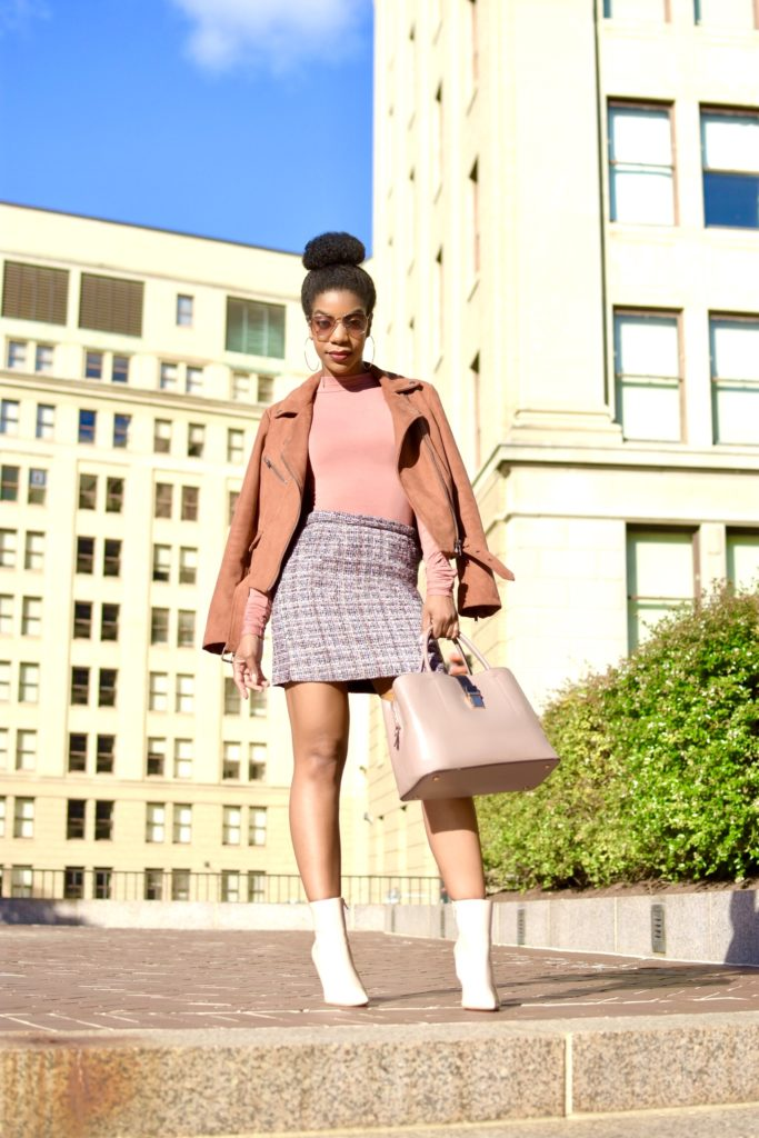 SheIn Zip Back Tweed Skirt, Missguided Mock Neck Bodysuit, Forever21 Mauve Faux Suede Moto Jacket, Express Nude Booties