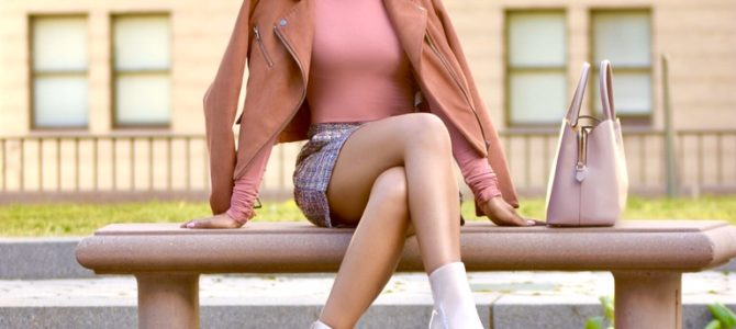 Fall/Winter Style: SheIn Tweed Skirt + Mock Neck Bodysuit + Mauve Moto Jacket