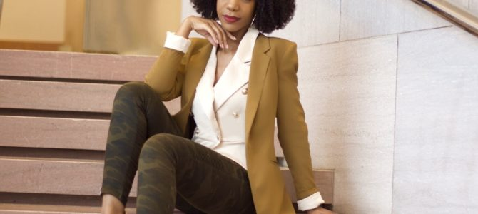 Fall/Winter Style: SheIn Solid Button Front Blazer + Camel Blazer + Camo Pants