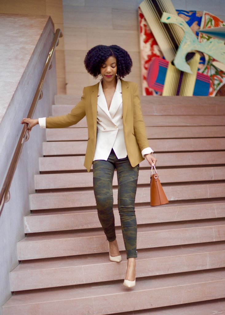 SheIn Solid Button Front Blazer, H&M Tan Blazer, Zara Camo Pants, Forever21 O Ring Purse, Steve Madden Nude Pumps