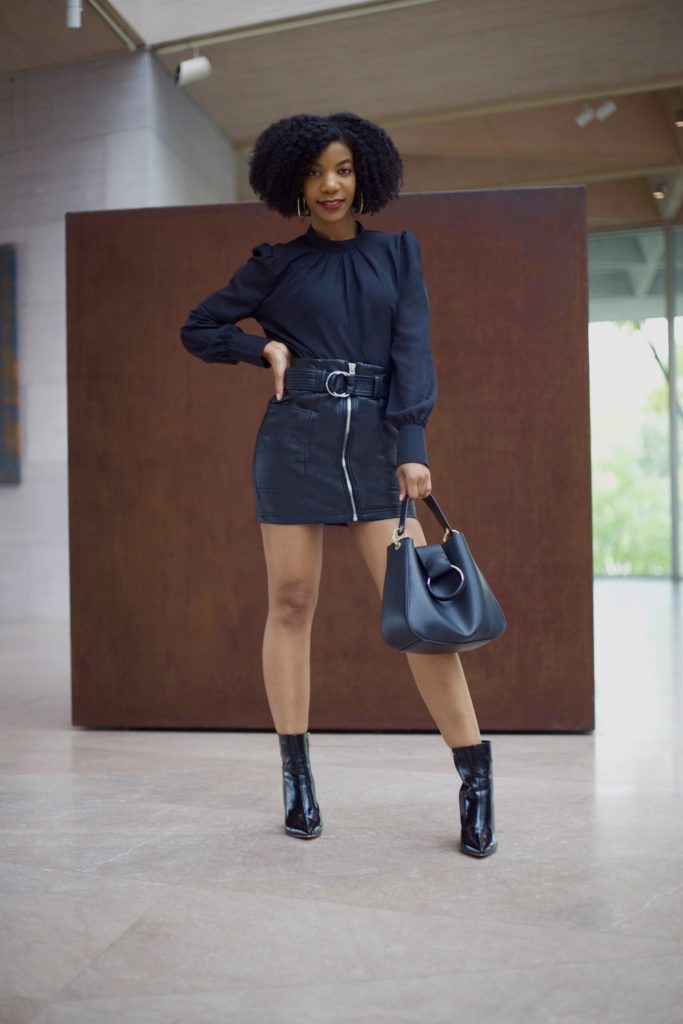 SheIn Black Puff Sleeve Pleated Detail Blouse,Topshop Vegan Leather Skirt,Ego Black Booties,Zara Oring Black Purse