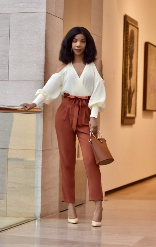 SHEIN Ruffle Detail Belted Pleated Pants, Tobi Cold Shoulder Cream Sweater, Steve Madden Nude Pumps, Forever 21 tan O ring purse