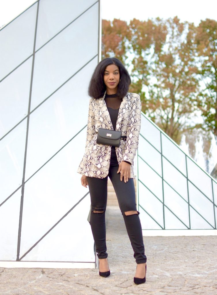 SheIn Snakeskin Print Flap Blazer, SHEIN Mesh Insert Front Solid Tee, Asos Black Ripped Jeans, Steve Madden Daisy Black Suede Pumps