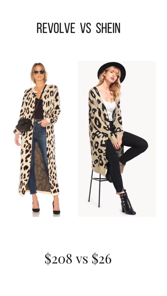 evolve LOVERS + FRIENDS SPEAK UP DUSTER IN METALLIC LEOPARD, SheIn Leopard Open Front Outerwear Cardigan, Look for less