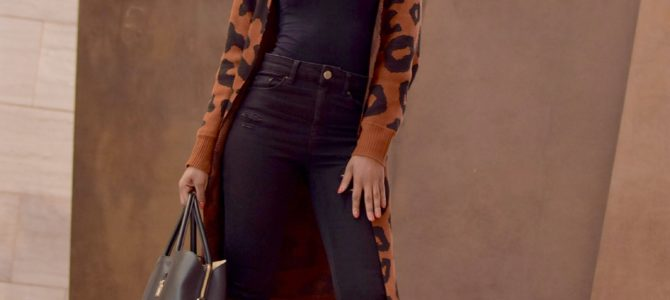 Fall/Winter Style: SheIn Leopard Print Open Front Knit Coat + Black Ripped Denim