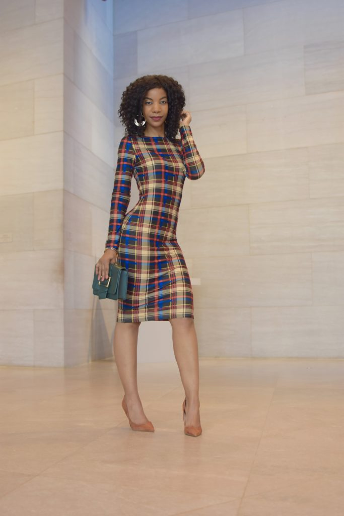 SHEIN Multicolor Plaid Pencil Dress, Steve Madden Daisie Pumps in Chestnut Suede, Forever21 Hunter Green Clutch