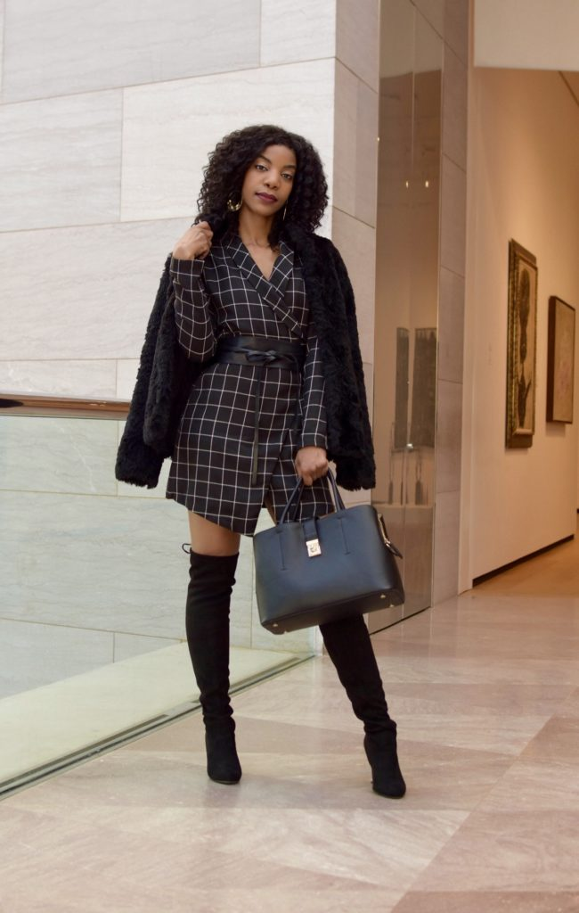 SHEIN Shawl Collar Self Tie Wrap Grid Coat, Steve Madden Black Over The Knee Boots, Blazer Dress, H&M Black Faux Fur Jacket