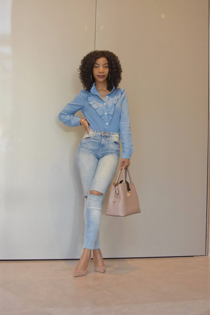 SheIn Chambray Frill Trim Single Breasted Knot Hem Blouse, Light Wash Ripped High Waist Skinny Jeans, Steve Madden Tan Daisie Pumps, Double Denim, Canadian Tuxedo, SheIn Chambray Frill Trim Single Breasted Knot Hem Blouse, Light Wash Ripped High Waist Skinny Jeans, Steve Madden Tan Daisie Pumps, Leopard Print Coat