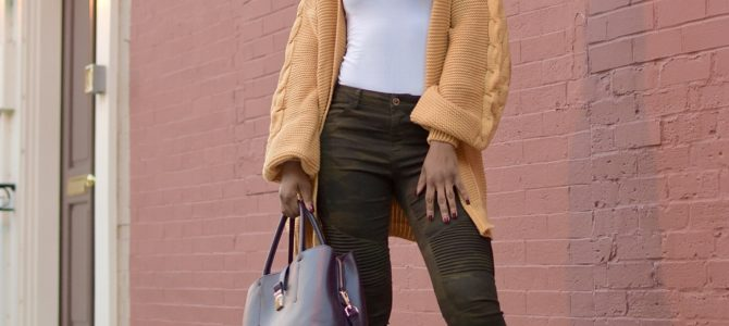 Fall/Winter Style: Lantern Sleeve Longline Cardigan + Camo Pants