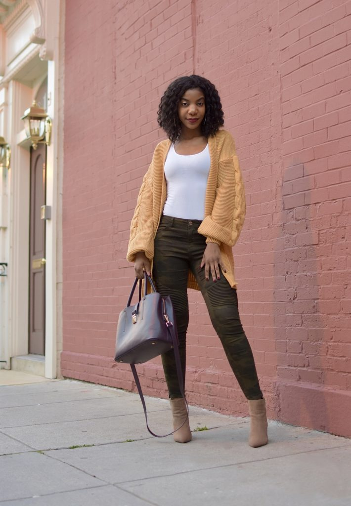 SHEIN Yellow Lantern Sleeve Open Front Longline Cardigan, http://bit.ly/2EzW6d7, use my discount code Q1thestyleperk15, Zara Camo Skinny Jeans