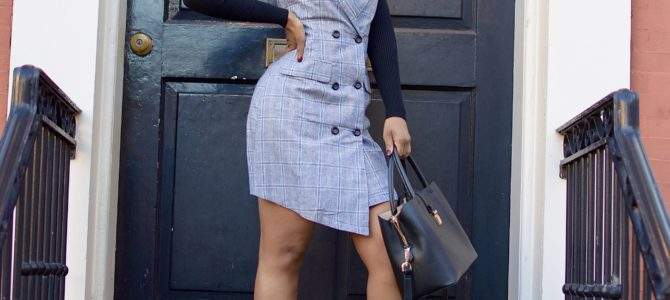 Fall/Winter Style: Plaid Blazer Dress + Turtleneck + Booties