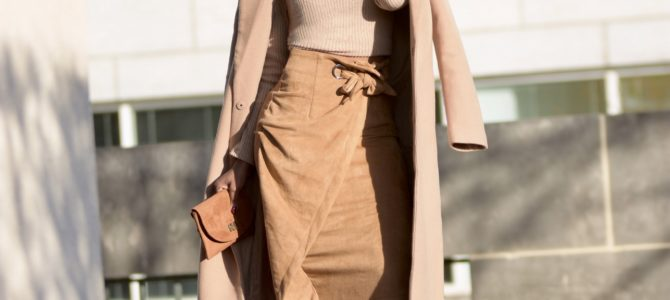 Fall/Winter Style: Camel Wrap Skirt + Camel Turtleneck + Camel Coat