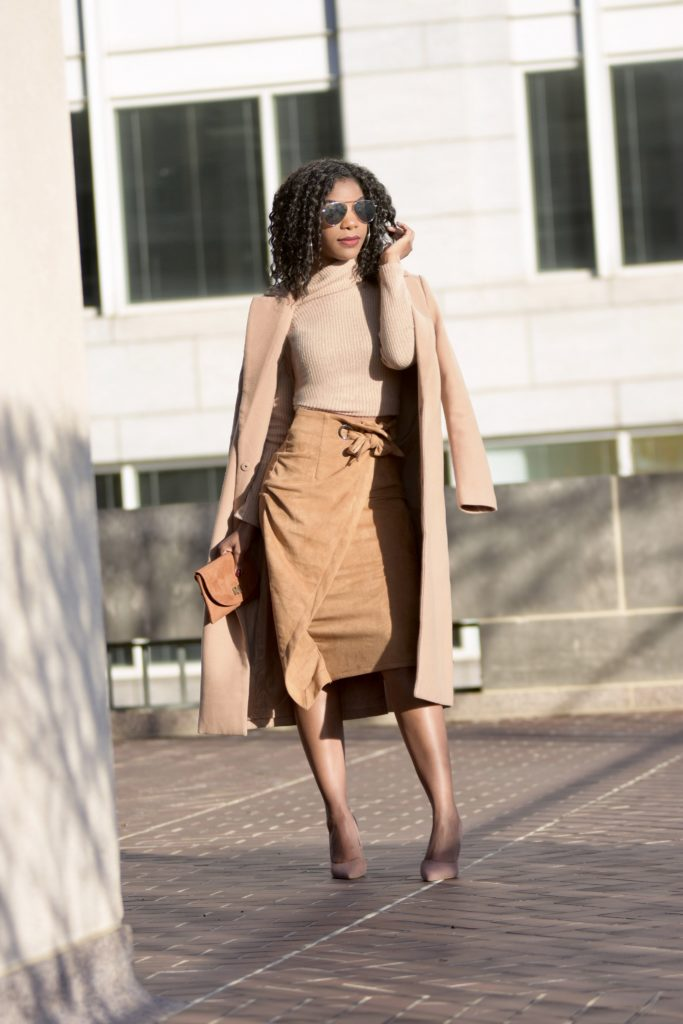 SHEIN Zip Back Tie Waist Camel Wrap Skirt, http://bit.ly/2LsjM4H, use my discount code Q1thestyleperk15, Camel Turtleneck, Camel Longline Coat, Nude Pumps