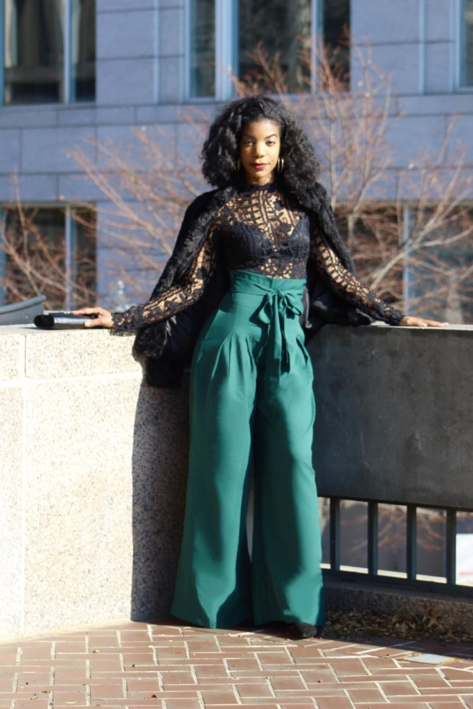 SHEIN Zip Back Tie Waist Camel Wrap Skirt, Http://Bit.Ly/2QL4hL4 use my discount code Q1thestyleperk15,Tobi Lace Top, H&M Faur Fur Coat