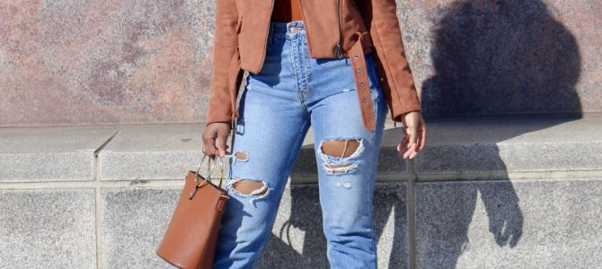 Fall/Winter Style: Moto Jacket + Mock Turtleneck + Ripped Jeans