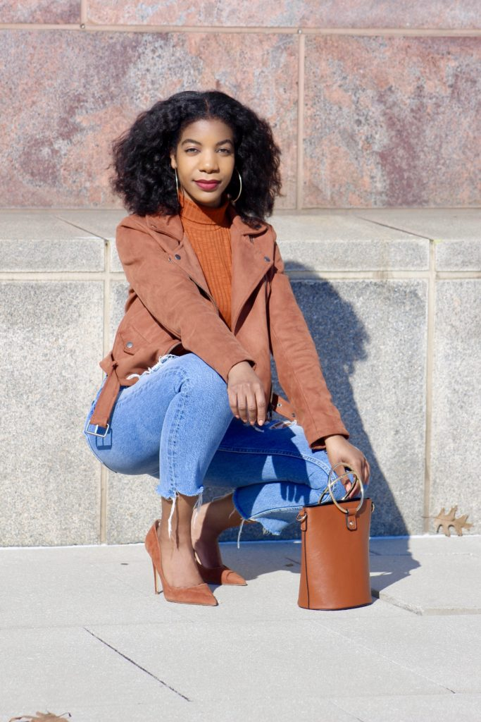 SHEIN High Neck Ribbed Knit Tee, http://bit.ly/2QFS3TX, Use my discount code Q1thestyleperk15, Forever21 Suede Moto Jacket, H&M Ripped High Waist Mom Jeans , Steve Madden Chestnut Daisie Pumps
