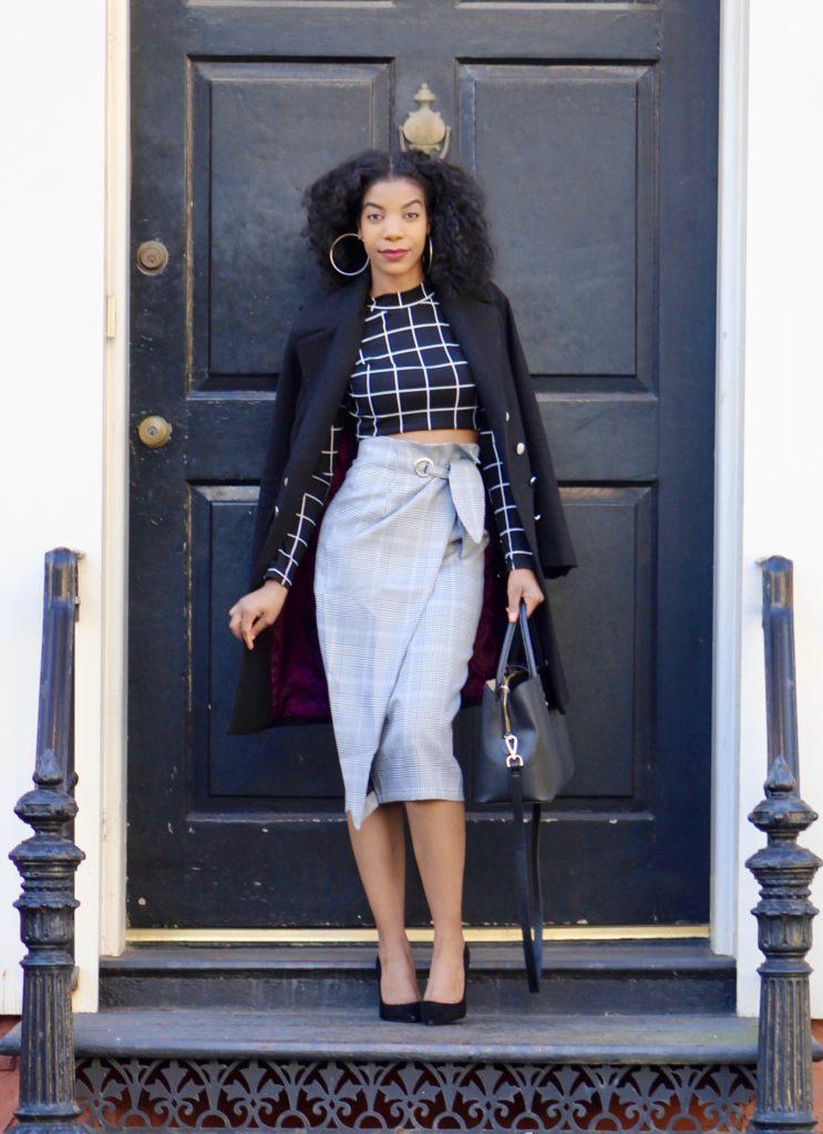 SHEIN Grommet Detail Bow Tie Plaid Wrap Skirt, http://bit.ly/2EDfkyH, Use my discount code Q1thestyleperk15, Black Gridprint Top, Black Longline Coat, Steve Madden Black Daisie Pumps
