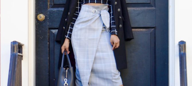 Fall/Winter Style: Plaid High Waist Skirt + Grid Print Crop Top + Black Longline Coat
