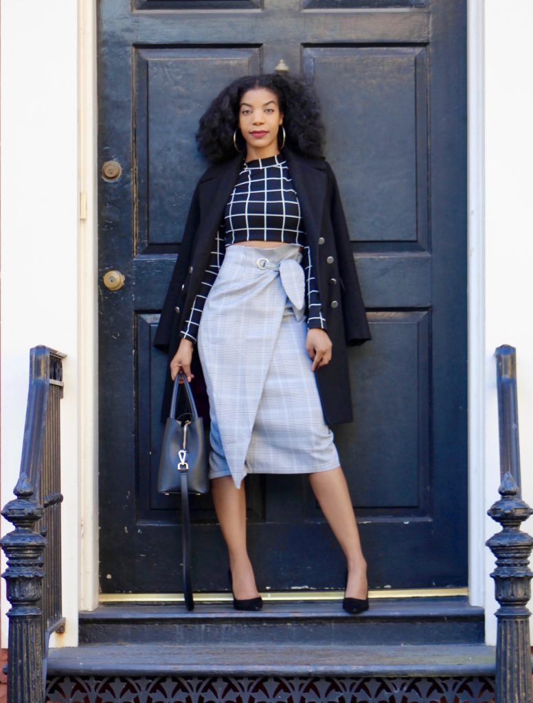 SHEIN Grommet Detail Bow Tie Plaid Wrap Skirt, http://bit.ly/2EDfkyH, Use my discount code Q1thestyleperk15, Black Gridprint Top, Black Longline Coat, Steve Madden Black Daisie Pumps