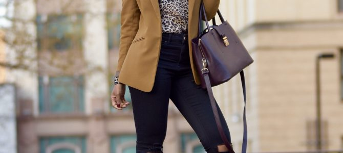 Fall/Winter Style: Leopard Print Top + Camel Blazer + Black Ripped Jeans