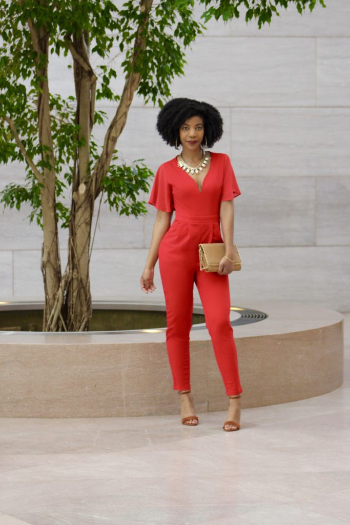SHEIN Red Slant Pocket Pleated Flutter Sleeve Jumpsuit, http://bit.ly/2RUFqVq, Use my discount code SH4012, She In 4 Love, Steve Madden Carrson Chestnut Heeled Sandals