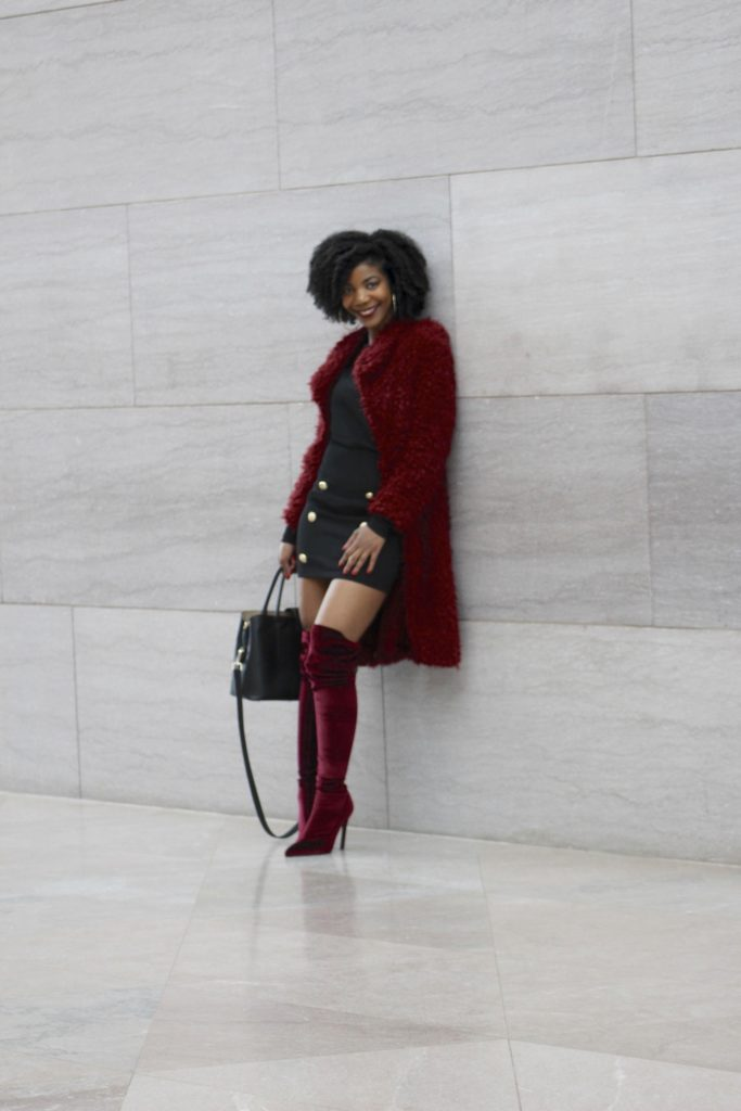 SHEIN Buttoned Shoulder Gigot Sleeve Top & Double Breasted Skirt Set http://bit.ly/2G51OEL, Use my discount code SH4012, She In 4 Love, Waterfall Collar Burgundy Solid Teddy Coat, Ego Official Thigh High Alabama Boots in Velvet Maroon
