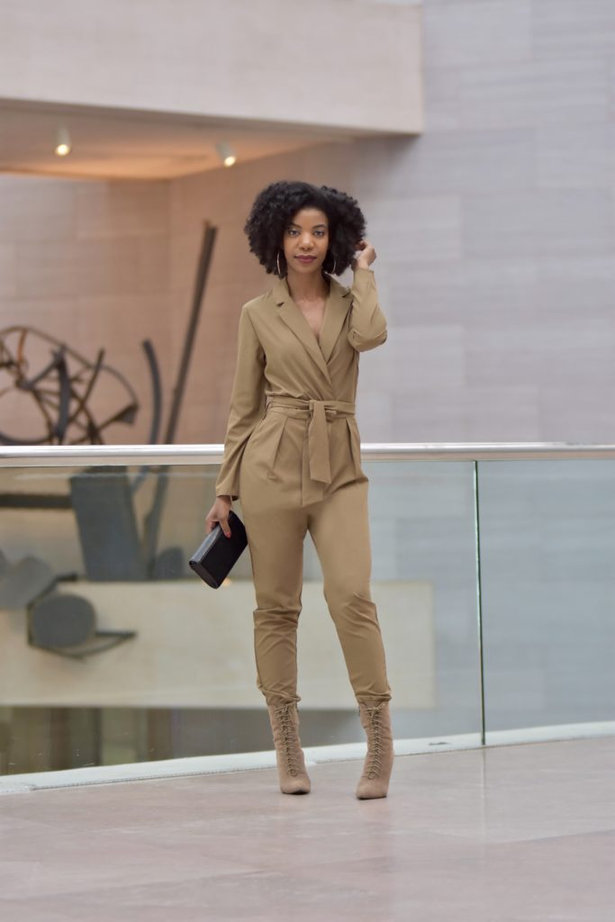SHEIN Wrap And Tie Detail Tailored Jumpsuit in Brown, http://bit.ly/2HIkAnz, Use my discount code Q1thestyleperk15, SIMMI Lace Up Taupe Booties