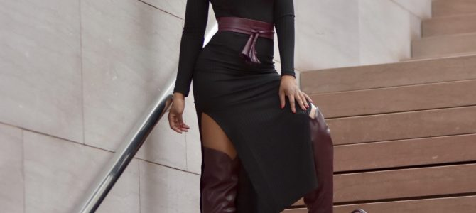 Fall/Winter Style: Black Slide Slit Dress + Burgundy Over The Knee Boots