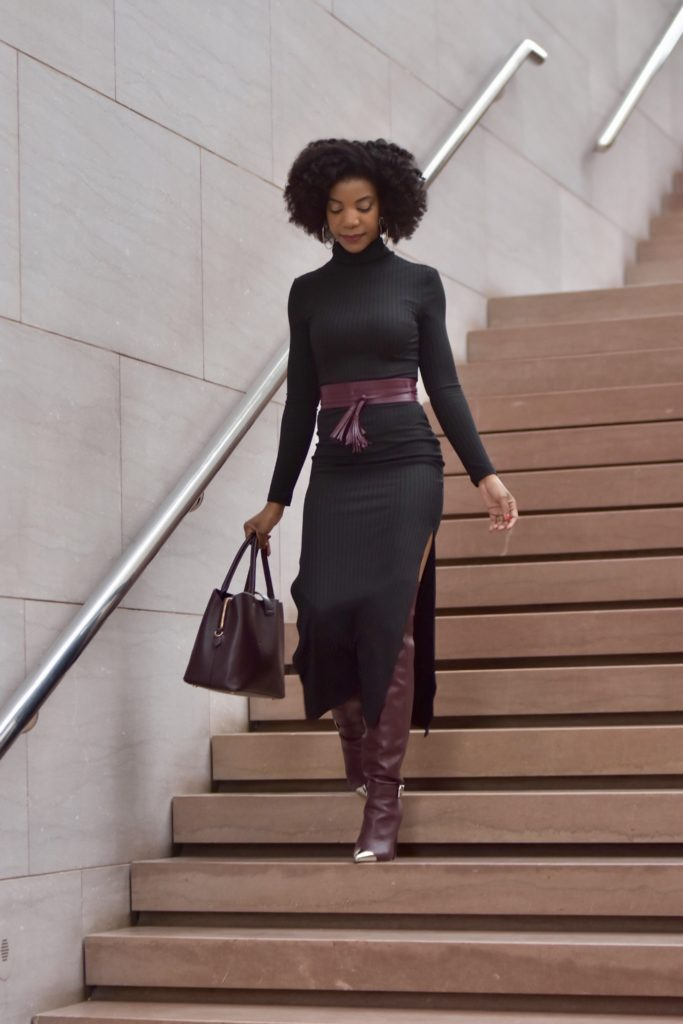 ShoeDazzle Dorothy Over The Knee Boot in Bordeaux, H&M Burgundy Satchel Purse