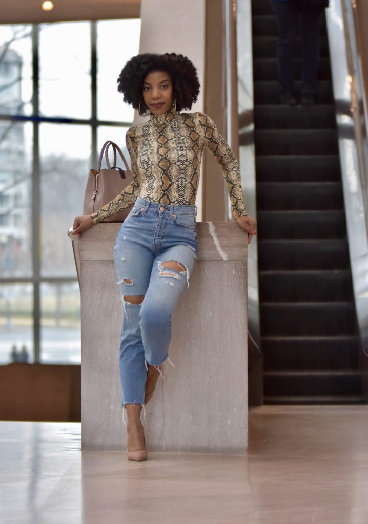 SHEIN High Neck Snakeskin Print Tee, http://bit.ly/2S01MVD, Use my discount code Q1thestyleperk15, Ripped High Waist Mom Jeans, Steve Madden Tan Suede Daisie Pumps