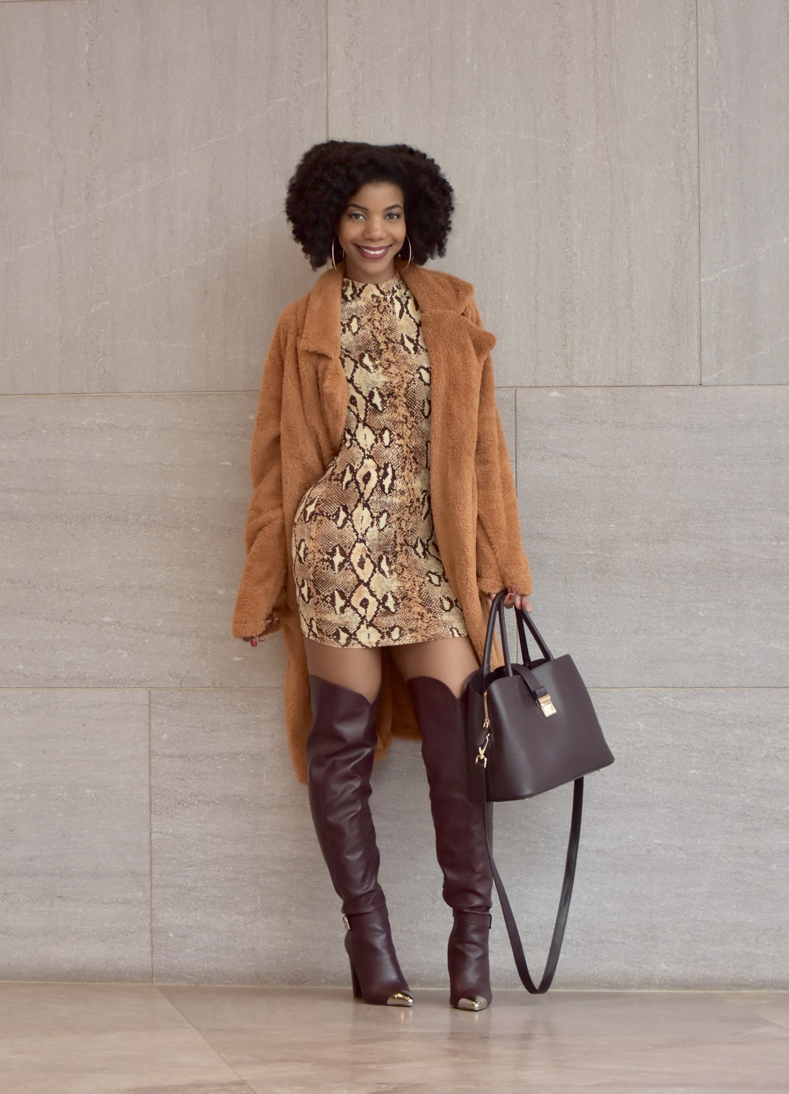 SHEIN Snake Skin Mock Neck Dress, http://bit.ly/2GejGwJ, Use my discount code Q1thestyleperk1 , Solid Long Teddy Coat, http://bit.ly/2MNmYZm, ShoeDazzle Dorothy Over The Knee Boot in Bordeaux, H&M Burgundy Satchel Purse