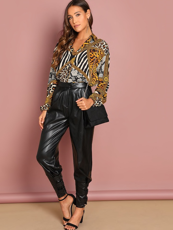 SHEIN Scarf Print Collar Top, https://bit.ly/2GEx3ax, SHEIN Black Solid Belted Pu Pants, http://bit.ly/2WxdCoV, Use my discount code Q1thestyleperk15Steve Madden Daisie Chestnut Pumps, Forever21 O Ring Purse