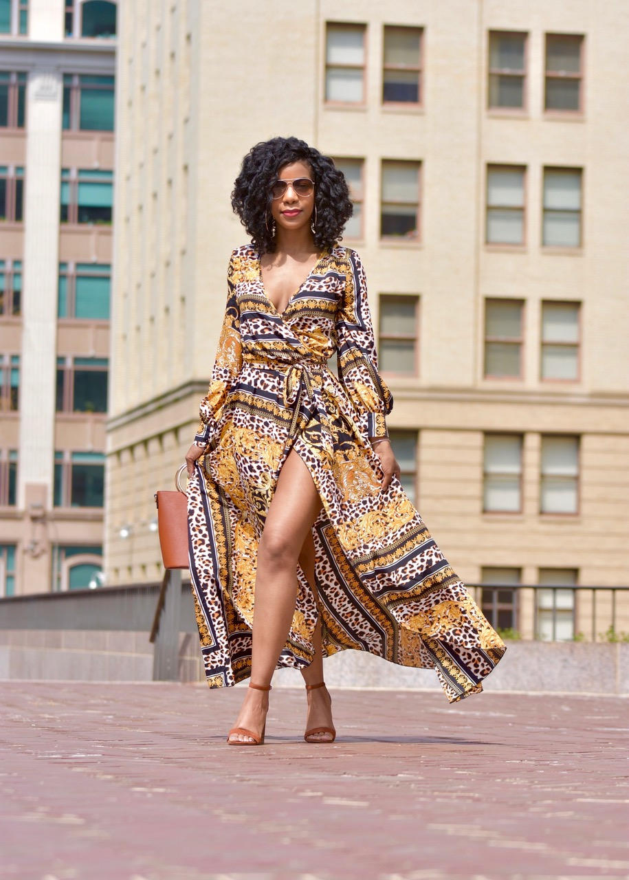 SHEIN Scarf Print Self Belt Surplice Dress, http://bit.ly/2TVE2lD, Steve Madden Carrson Block Heels, Forever21 O Ring Purse, H&M Aviator Sunglasses