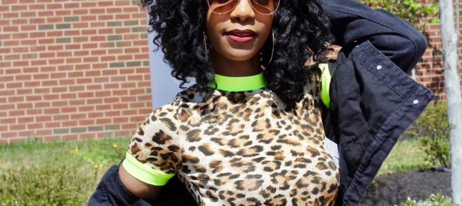 Festival Style: Leopard Print & Neon Dress + Neon Sneakers