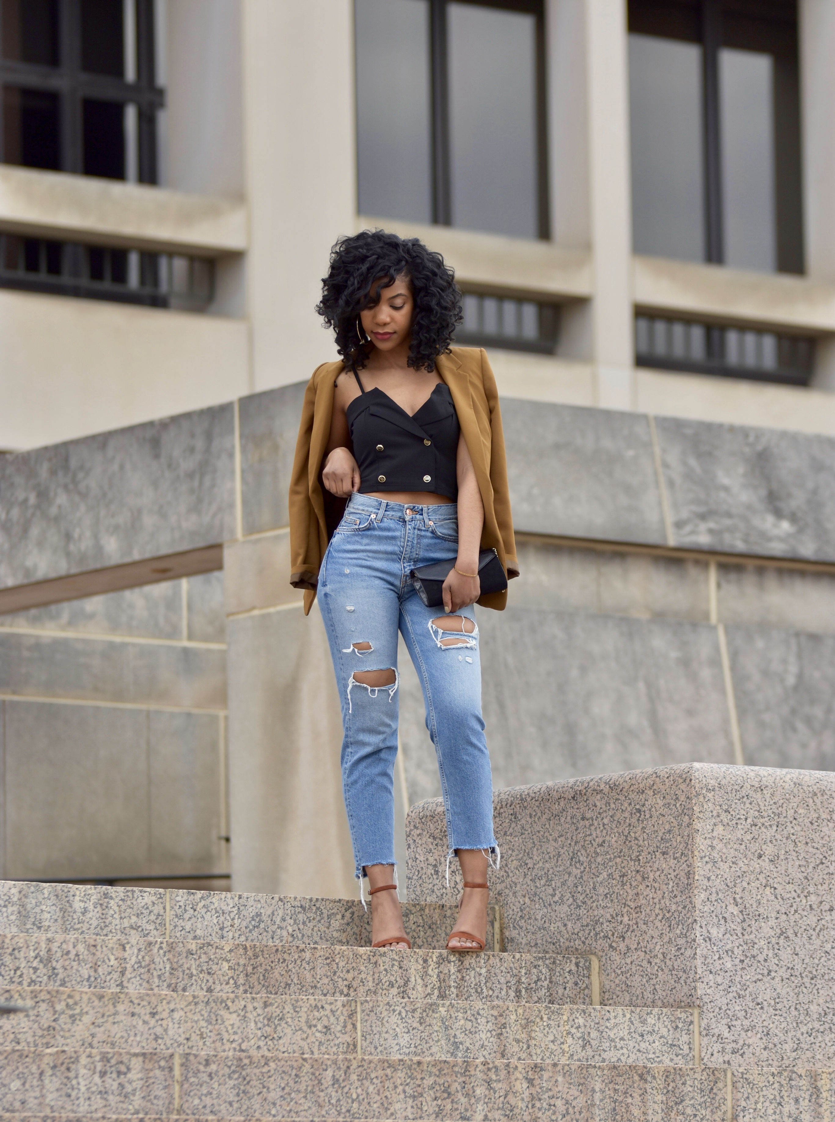 SHEIN Foldover Front Double Breasted Cami Top http://bit.ly/2TQsmBP, H&M Ripped High Waisted Jeans, Steve Madden Carrson Suede Sandal, Flat Lens Sunglasses, http://bit.ly/2W6Aydz, H&M tan blazer