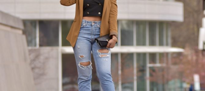 Spring Style: Foldover Front Cami Top w/Button Detail + High Waisted Ripped Jeans + Camel Blazer