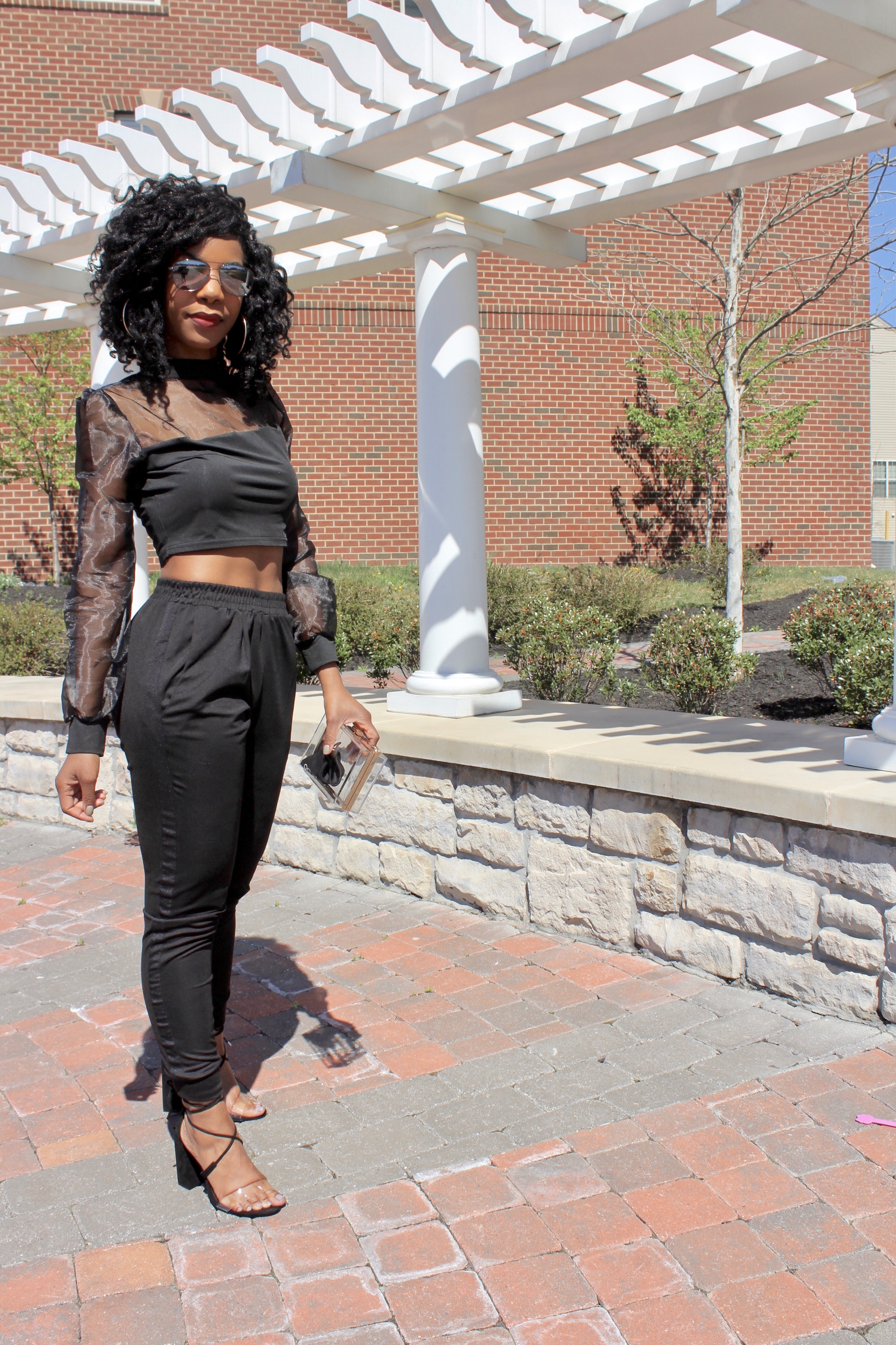 SHEIN Mock-Neck Organza Insert Crop Top http://bit.ly/2ug6DDY, Bar III Joggers, Asos Barely There Heels, Forever21 Clear Purse